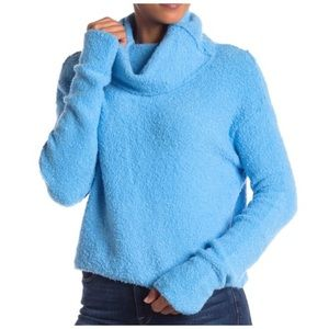 Free People Stormy Cowl Neck Cozy Blue Sweater XS